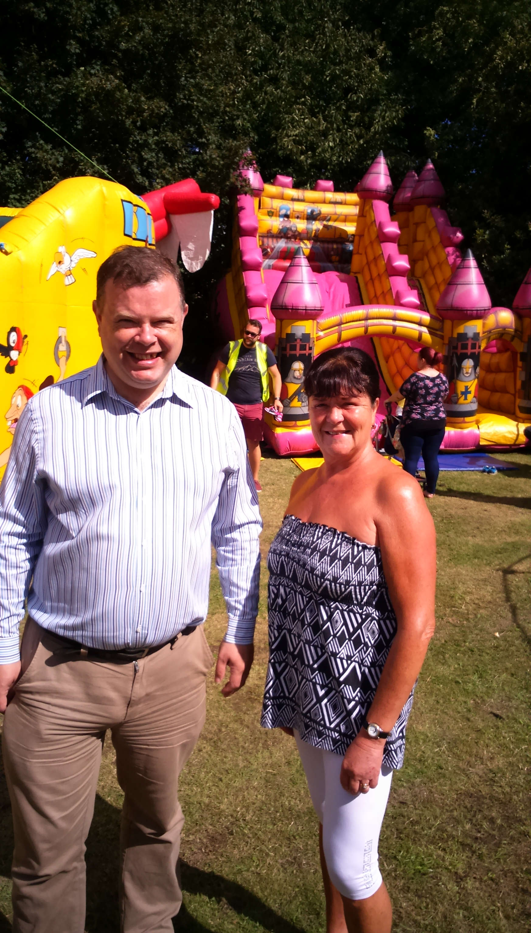 Andrew and Sheena visit the children's bouncy castles