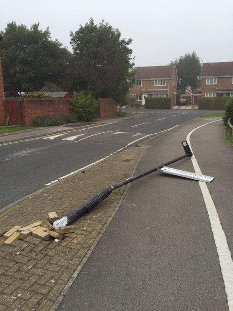 Lampposts on Bellwood drive demolished on Thursday