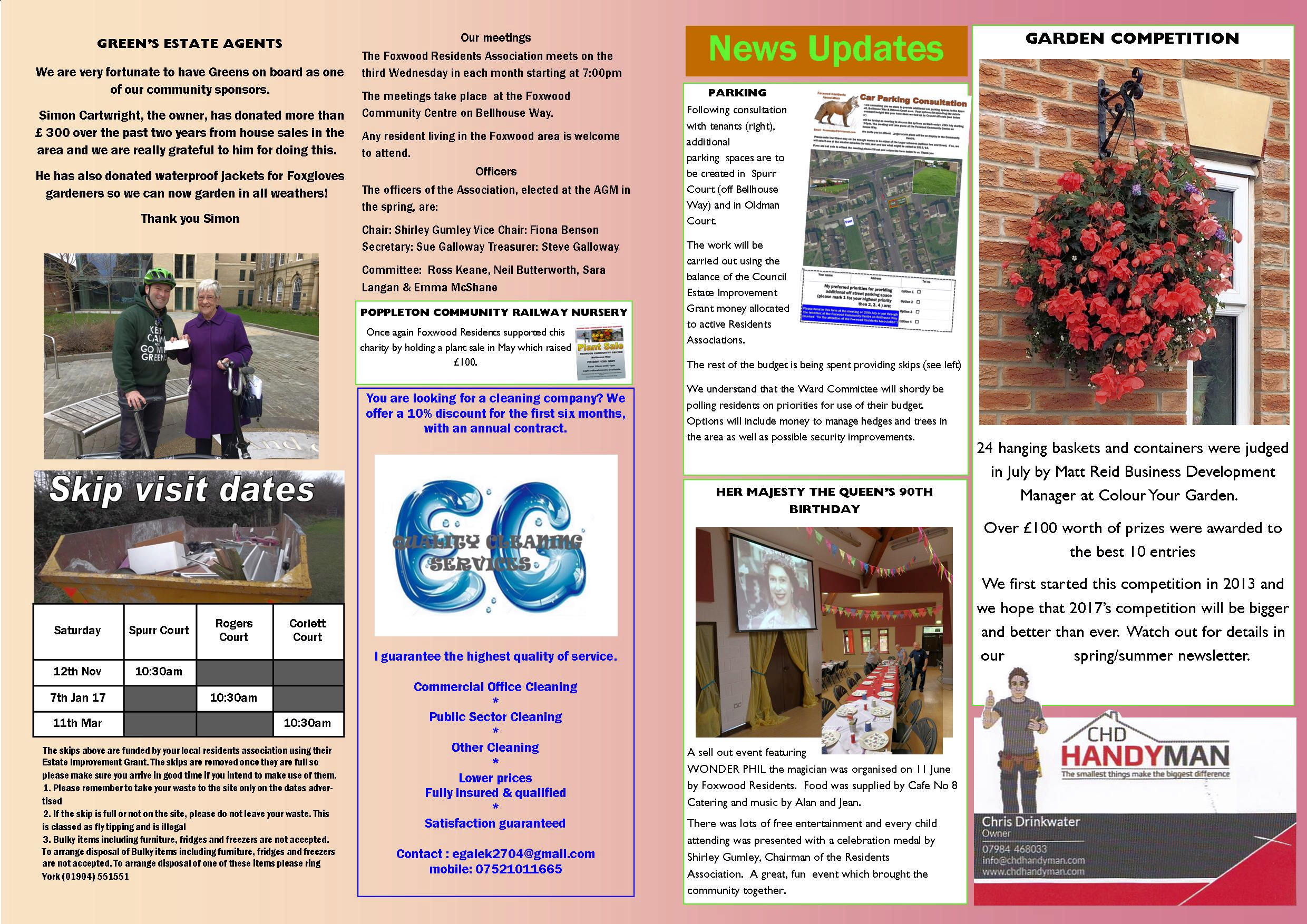 Newsletter autumn page 2 and 3 2016
