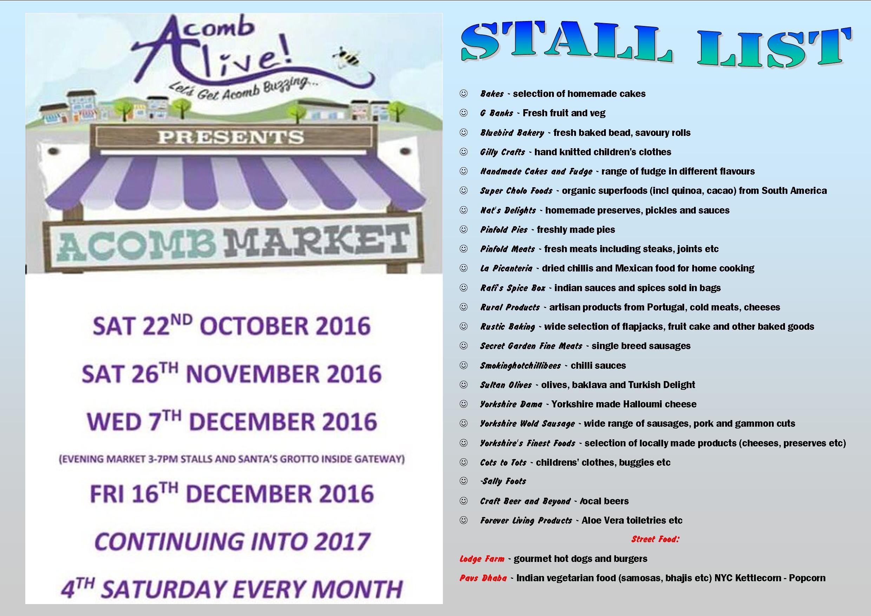 Acomb Market stall list 22nd Oct 2016
