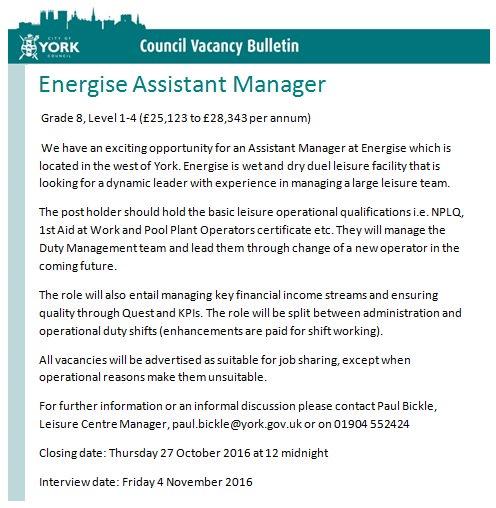 Energise job Oct 2016
