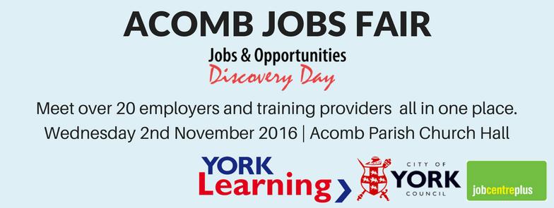 Jobs Fair Acomb 2nd Nov 2016