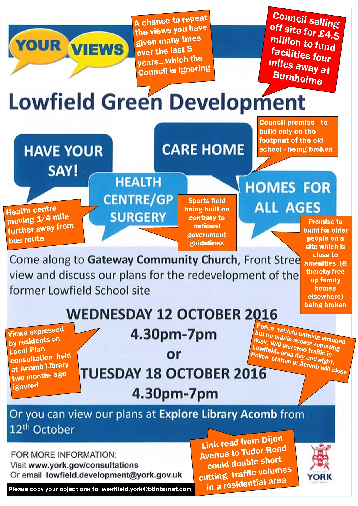 Lowfields poster objections