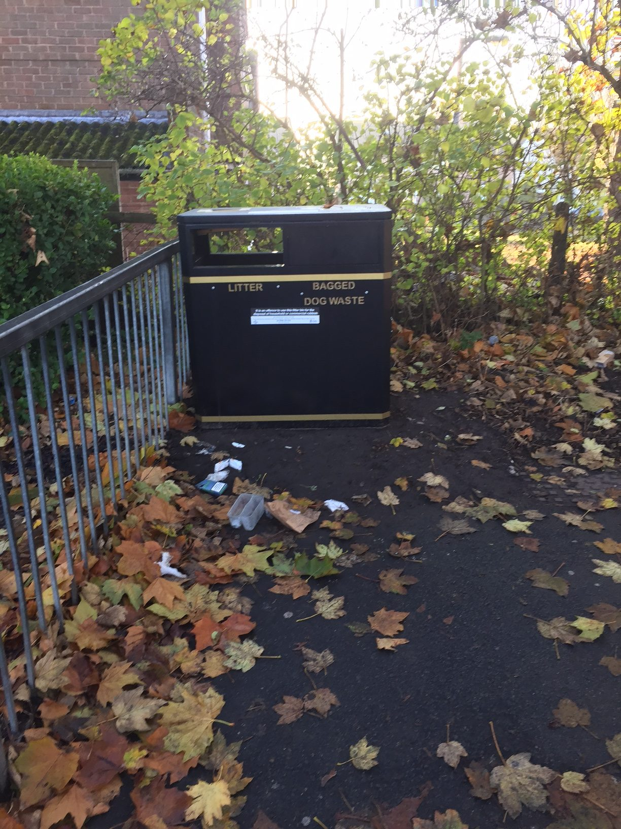 A new litter bin was installed in the Lowfields area