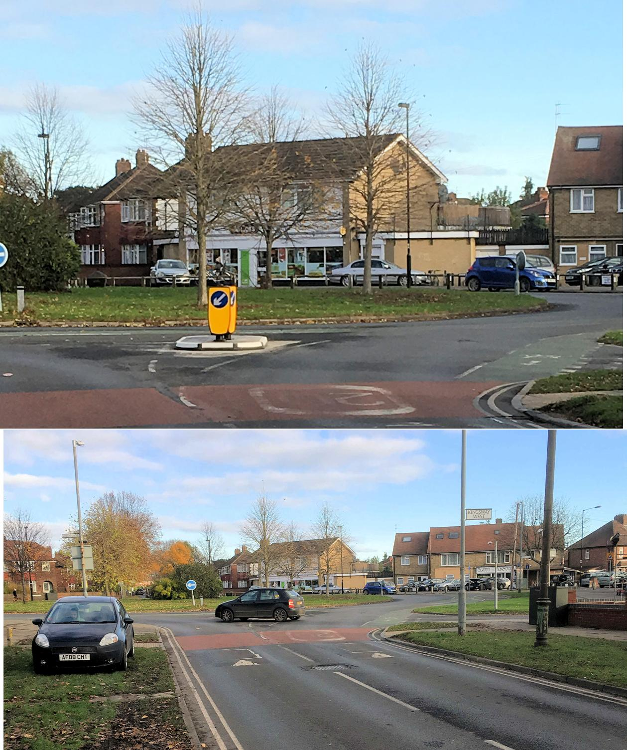 A new bollard was provided at the junction of Tudor Road and Kingsway West.  Intended to improve road safety its precise effect is a puzzle to many