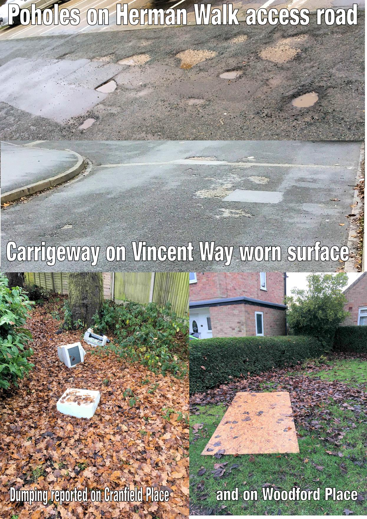 Locla Coucnillorsd Sheena Jackson and Andrew Waller have  reported problems with potholes on Herman Walk and Huntsman's Walk, worn carriageway surfaces in Vincent Way plus fly-tipping in Greenwood Grove and in Woodford Place