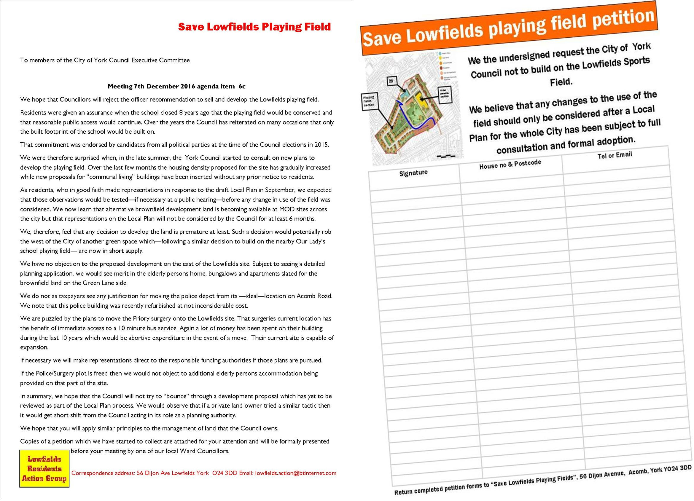 Residents seeking to conserve the Lowfields playing field were rebuffed by the Council leadership at a meeting on Wednesday. However the battle goes on. Other parts of the City are awaking to the possible loss of other playing fields. A meeting on 19th December will hear pleas for the playing field at the former Manor school site to be brought back into public use while a Parish Council is seeking to make the fields at Osbaldwick school an asset of community value.