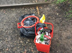 Can and litter collected over the weekend